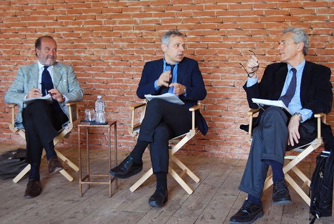 Da sinistra, Severino Salvemini, Armando Massarenti e Francesco Rutelli